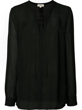 blouse women drawstring black silk top