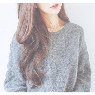 sweater cozy grey sweater underwear laine gris col rond hair