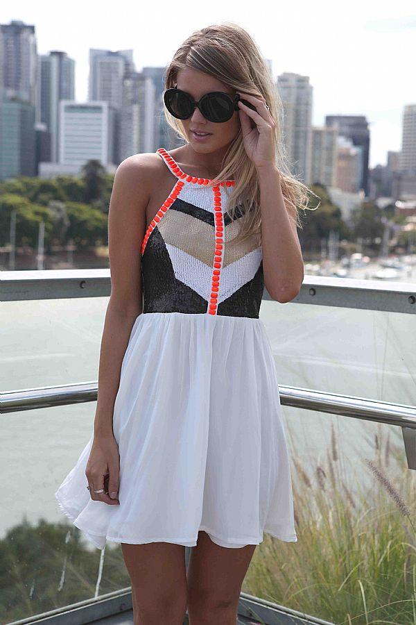 White Sequin Dress - White Embellished High Neckline Dress   UsTrendy