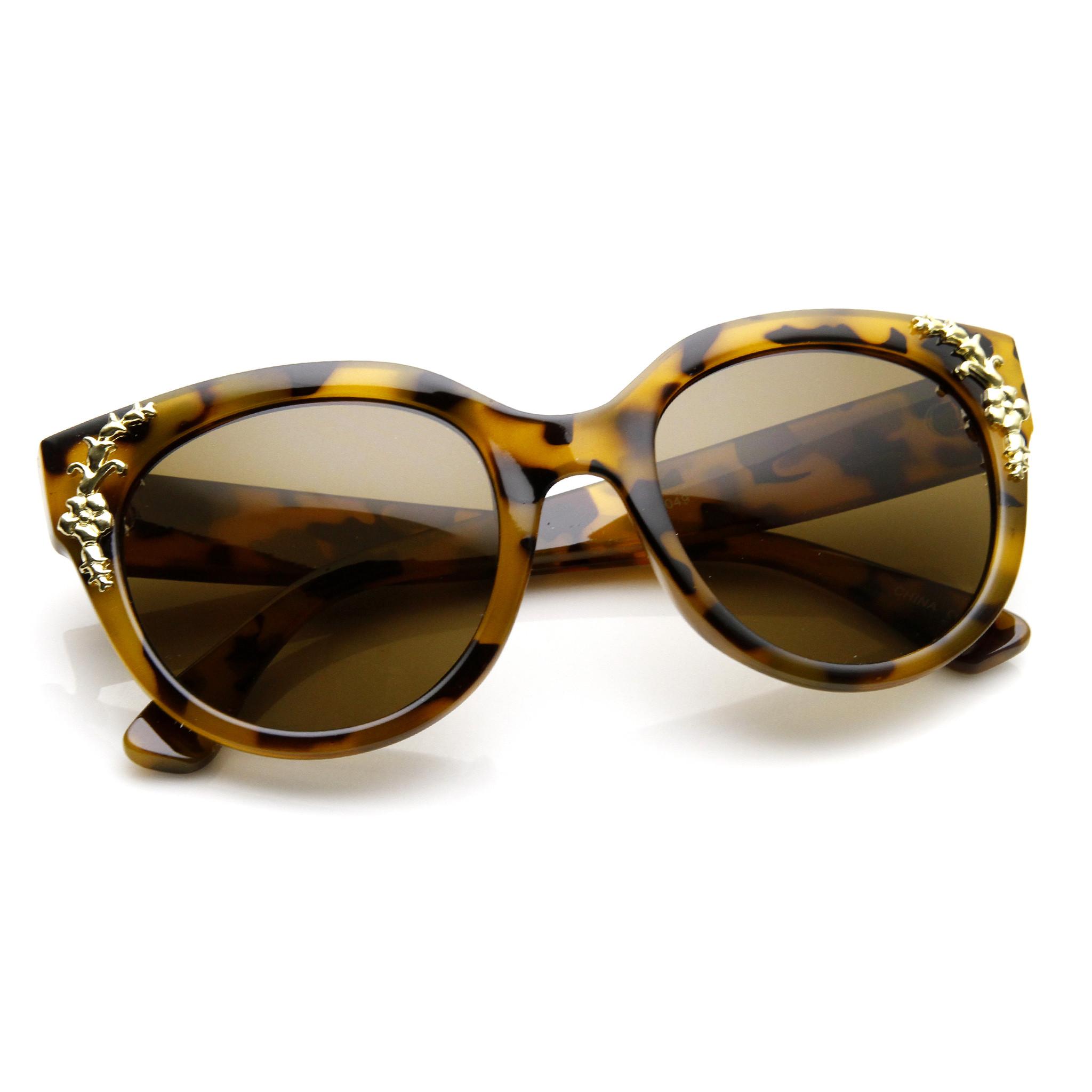 Womens Retro Oversize Flower Adorned Cat Eye Sunglasses 9320