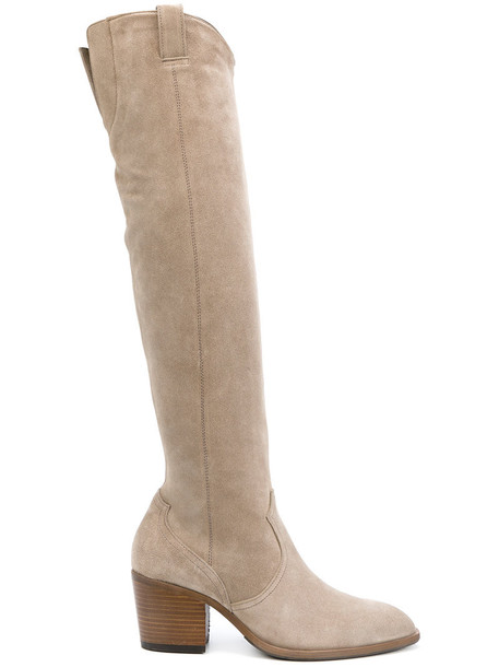 long women leather nude suede shoes