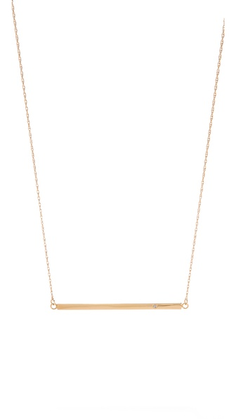 Jennifer Zeuner Jewelry Horizontal Bar Necklace with Diamond | SHOPBOP