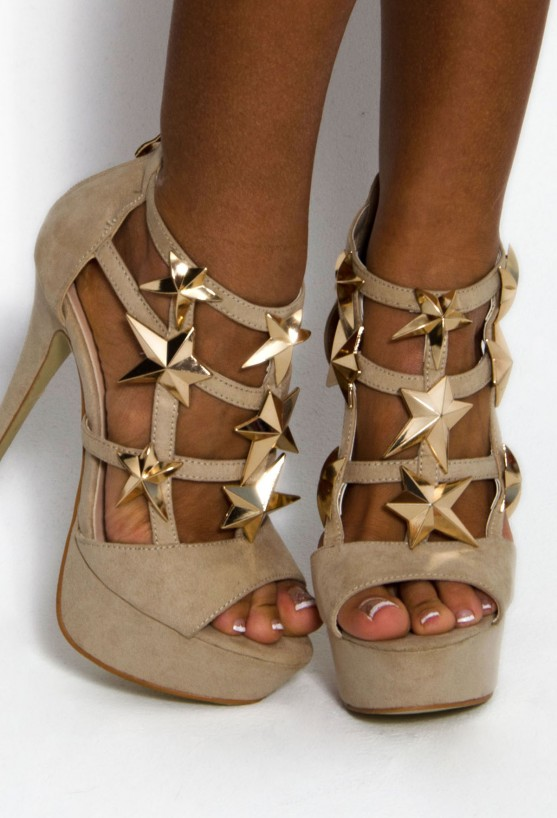 Celebrity-inspired fashion for Women Starla Nude Designer Inspired Gold Star Platform Shoes Pink Boutique