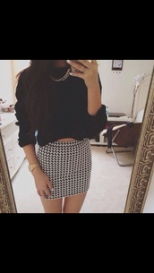 skirt,style,blouse,black and white dress,black top