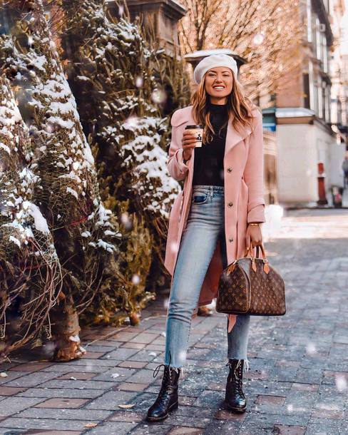 coat tumblr pink coat top beret hat denim jeans blue jeans boots black boots bag