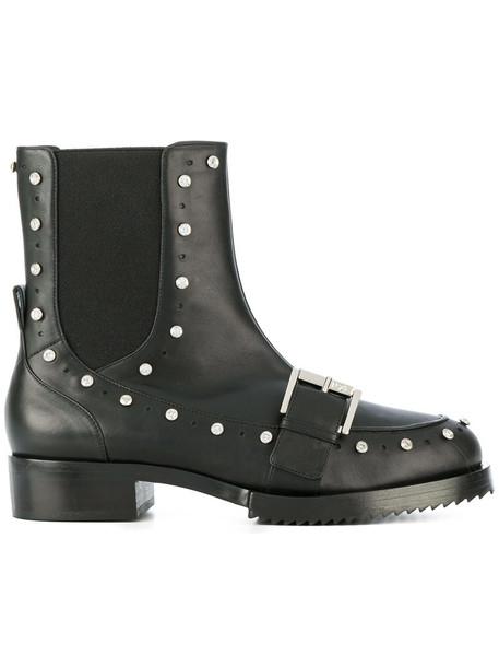 No21 biker boots women embellished leather black shoes