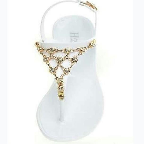 c7f9f782f shoes sandals white sandals gold chain rhinestones flip-flops t strap sandals  cute
