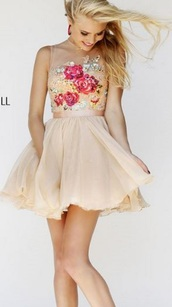 dress,prom dress,clothes,sherri hill,short prom dress,short dress,floral dress