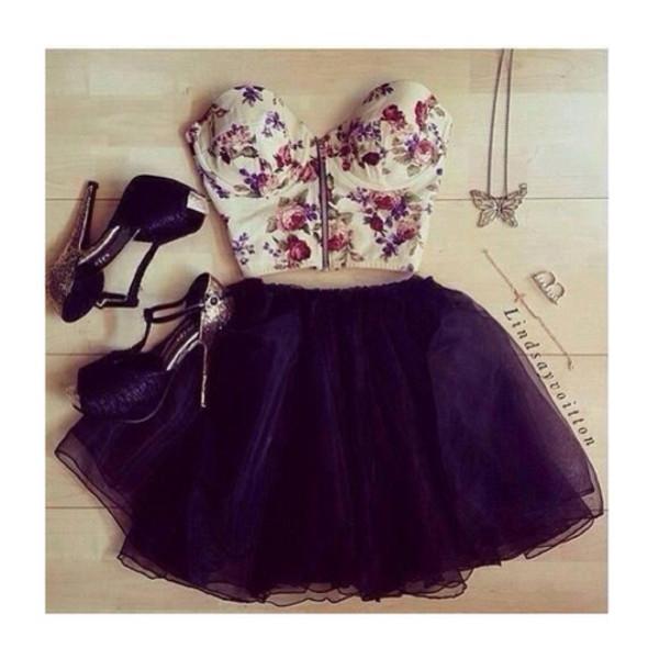 tank top floral tank top floral t-shirt skirt