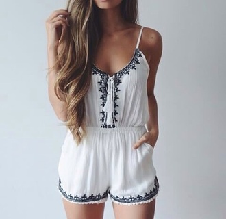 jumpsuit summer outfit white fancy summer dress summer jumpsuit tumblr outfit summer outfits bag dress romper white romper cute cute romper black hippie vintage girly beach style clothes jump blue hair good black and white black and white jumpsuit pom poms white jumpsuit white dress black detailing patterned jumpsuit tumblr patterns navy blue and white tie up