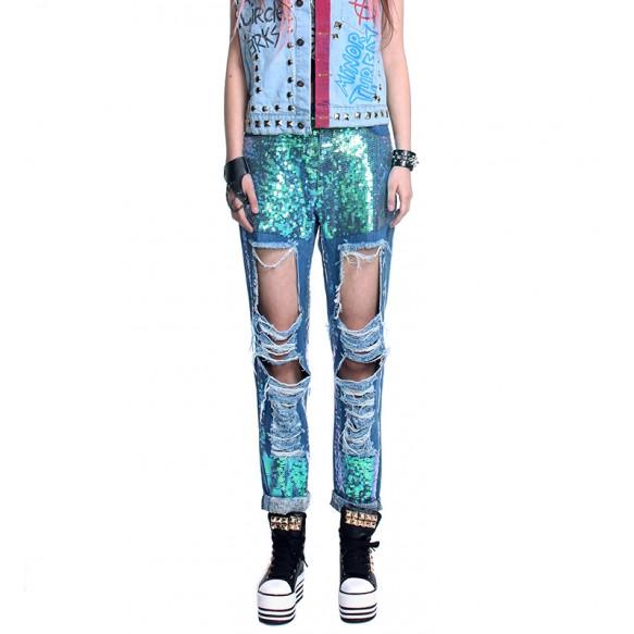 Sequin Embellished Ripped Denim Jeans