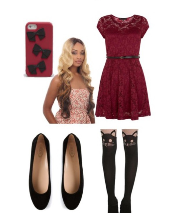 Tights: cats, hairstyles, dress, phone cover, flats, blood red ...