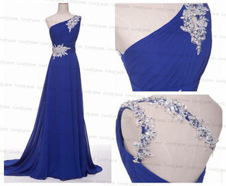 dress prom dress blue prom dress one shoulder prom dress beading prom dress sexy prom dress chiffon prom dress