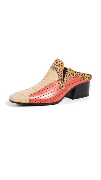mules beige orange shoes