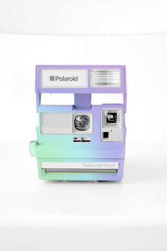 cool colorful nice funny happpy trendy modern polaroid camera photography technology pastel jewels nail polish camera vintage purple and green rainbow tumblr phone cover home accessory