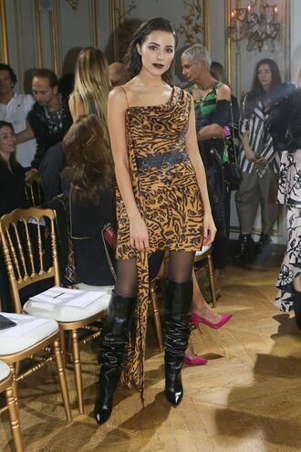 dress animal print asymmetrical belt boots olivia culpo paris fashion week 2017 shoes