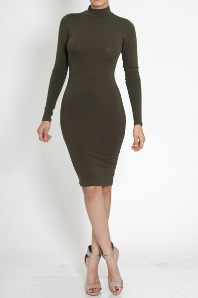 Celeb inspired turtle neck dress with back zip closure