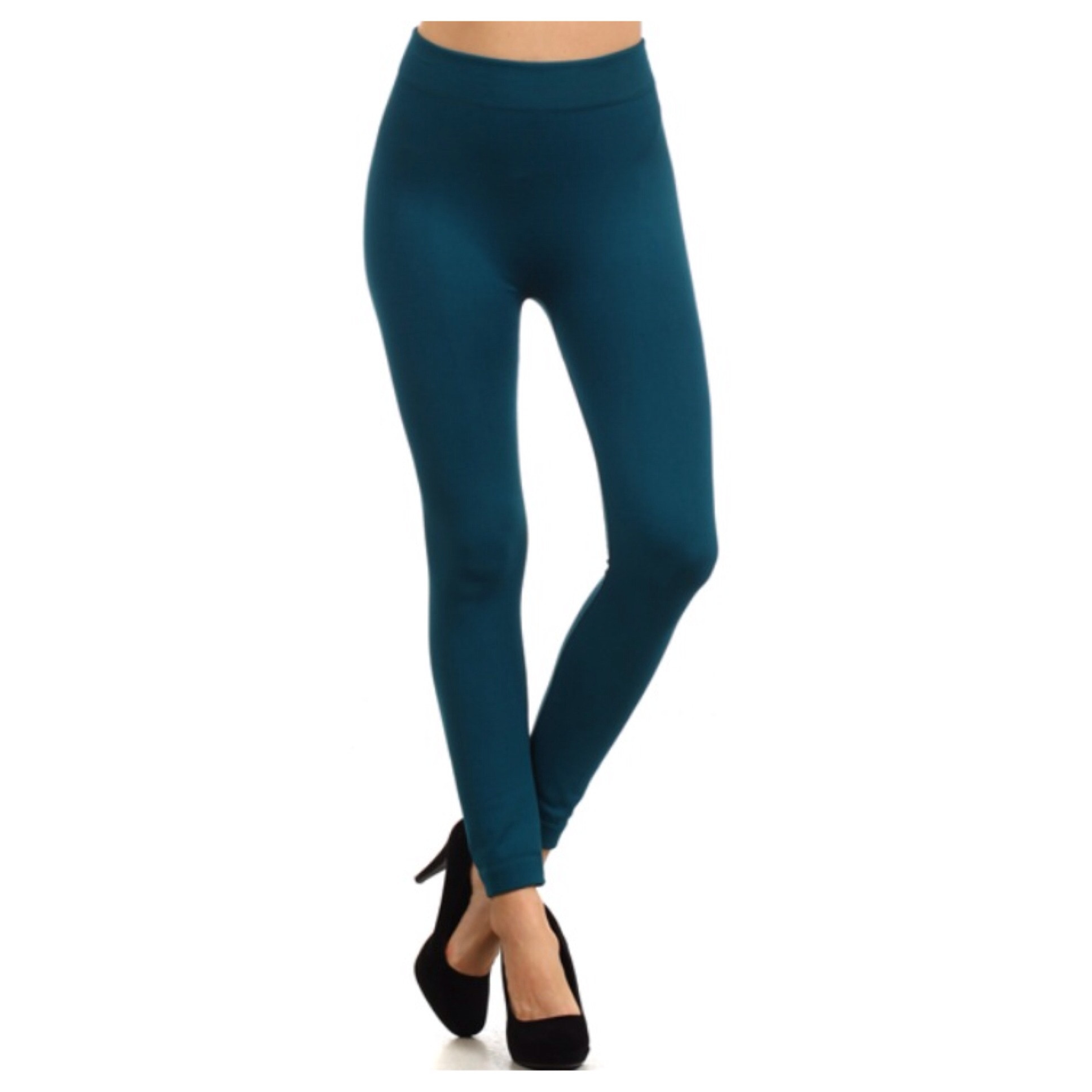 In Style Fleece Lined Solid Teal Leggings