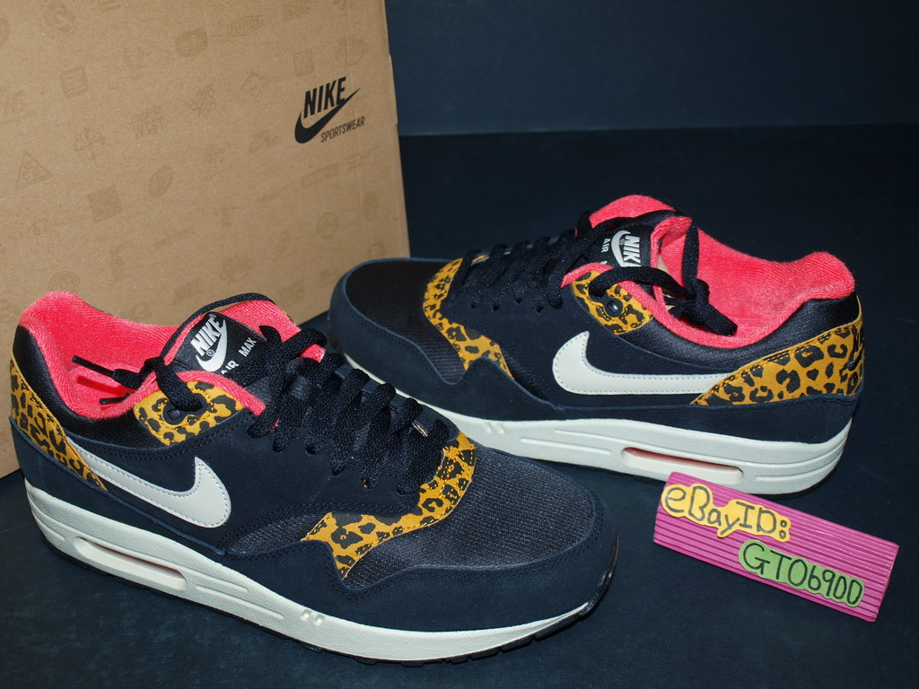 2012 Nike Wmns Air Max 1 Print Leopard Black Gold Yellow Running 319986 026  | eBay