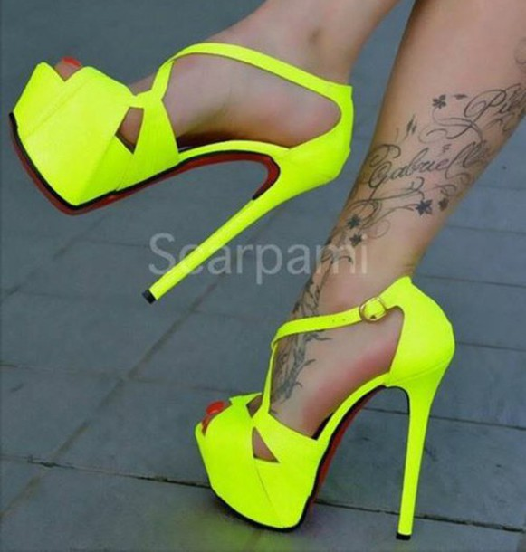 Shoes: neon yellow heels, sexy pumps, stilettos, high heels, open ...