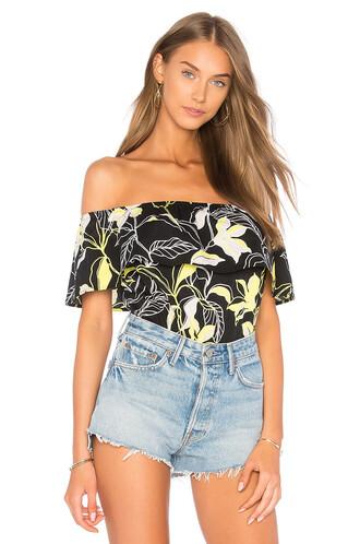 top floral top floral black