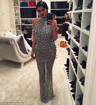 silver gown sparkling beads kylie jenner the great gatsby prom dress kardashians studded dress sequin dress rhinestones dress sexy dress