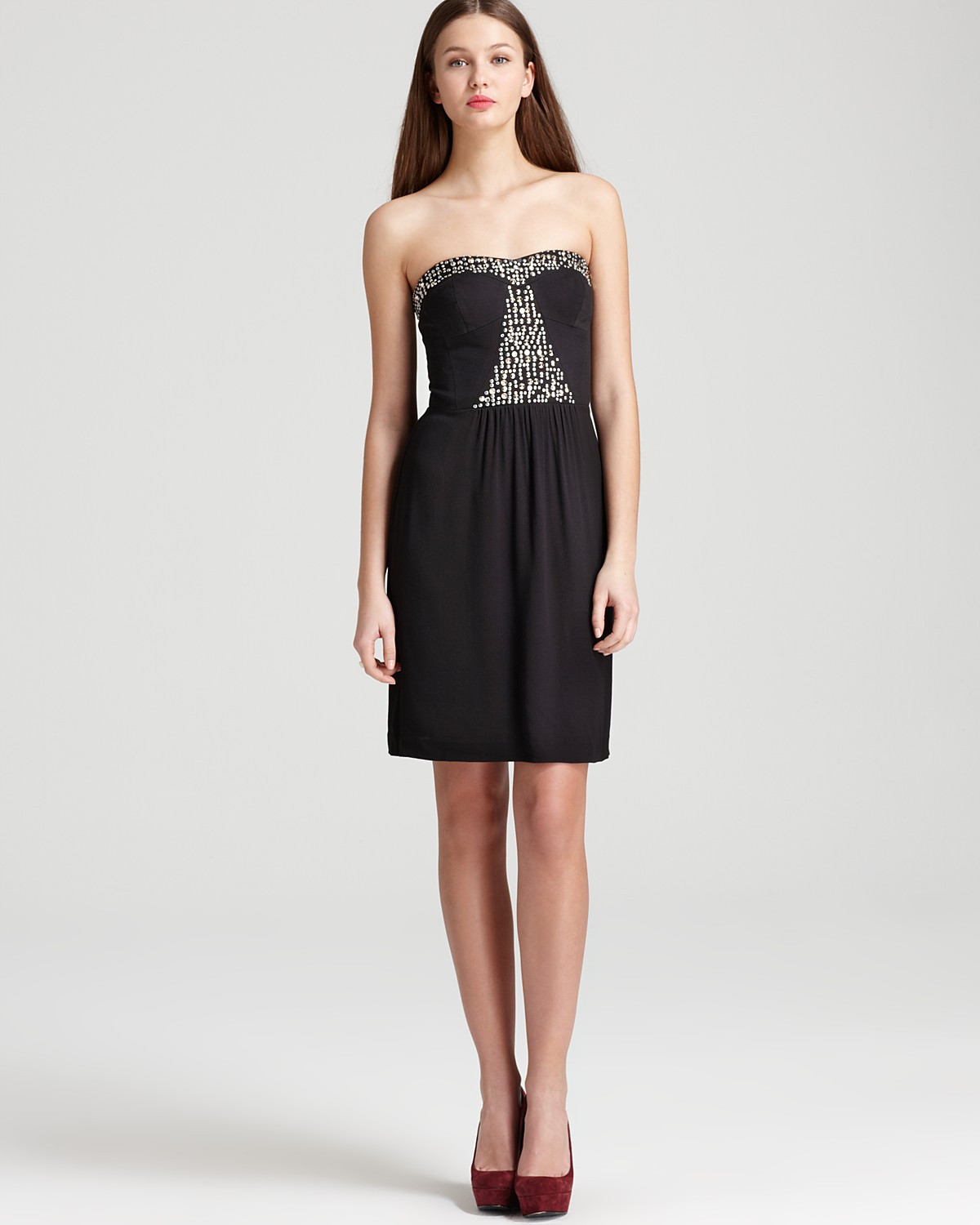 Rebecca Taylor Strapless Dress - Beaded | Bloomingdale's