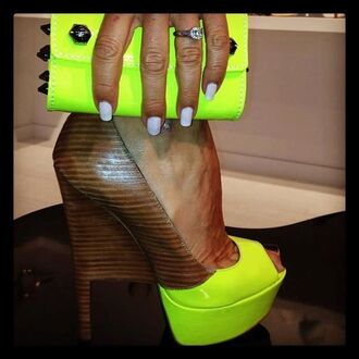 shoes neon nails high heels nail polish wood heels neon heels clutch