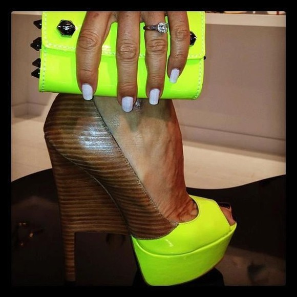 shoes wood heels high heels neon nail polish neon heels clutch