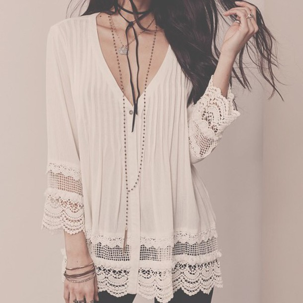 Blouse Boho Bohemian Romantic Lace Crochet Chic Sexy Trendy Fashion Love Lovestitch Dress