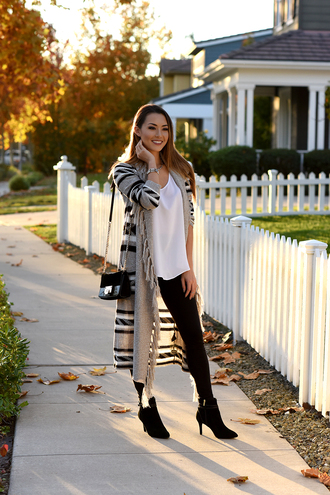 jessica r. hapa time - a california fashion blog by jessica blogger shoes cardigan jewels tank top leggings bag shoulder bag ankle boots long cardigan printed cardigan