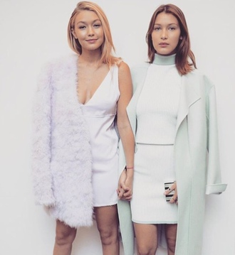 dress bella hadid gigi hadid hadid sisters bella and gigi gigi and bella gigi hadid style bella hadid style celebrity style model white dress mint coat white cardigan classy