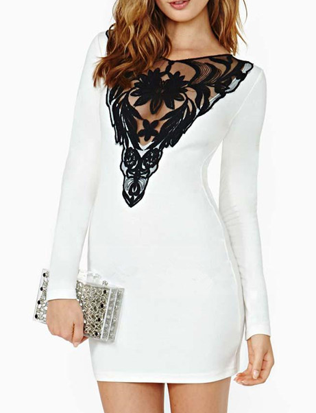 Lace hollow out black white cute design sexy dress