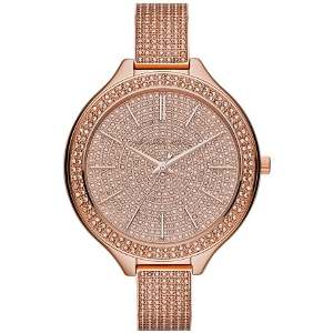 Michael Kors Rose Gold Slim Runway Pave Crystal Bangle Watch - Sale