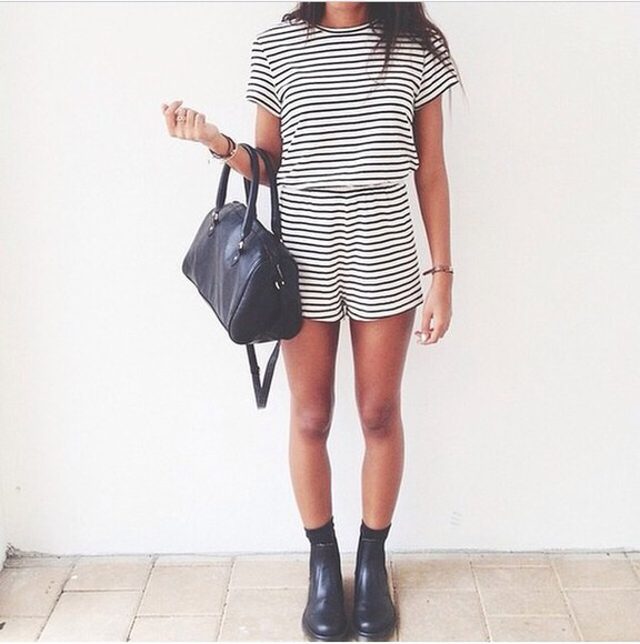 white black girly fashion playsuite striped dress stripes fashionable outfit