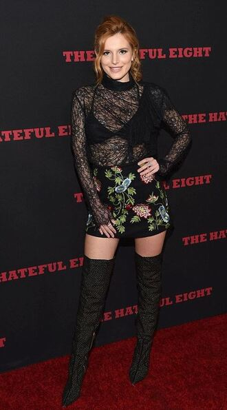 skirt boots bella thorne see through top lace over the knee boots shoes