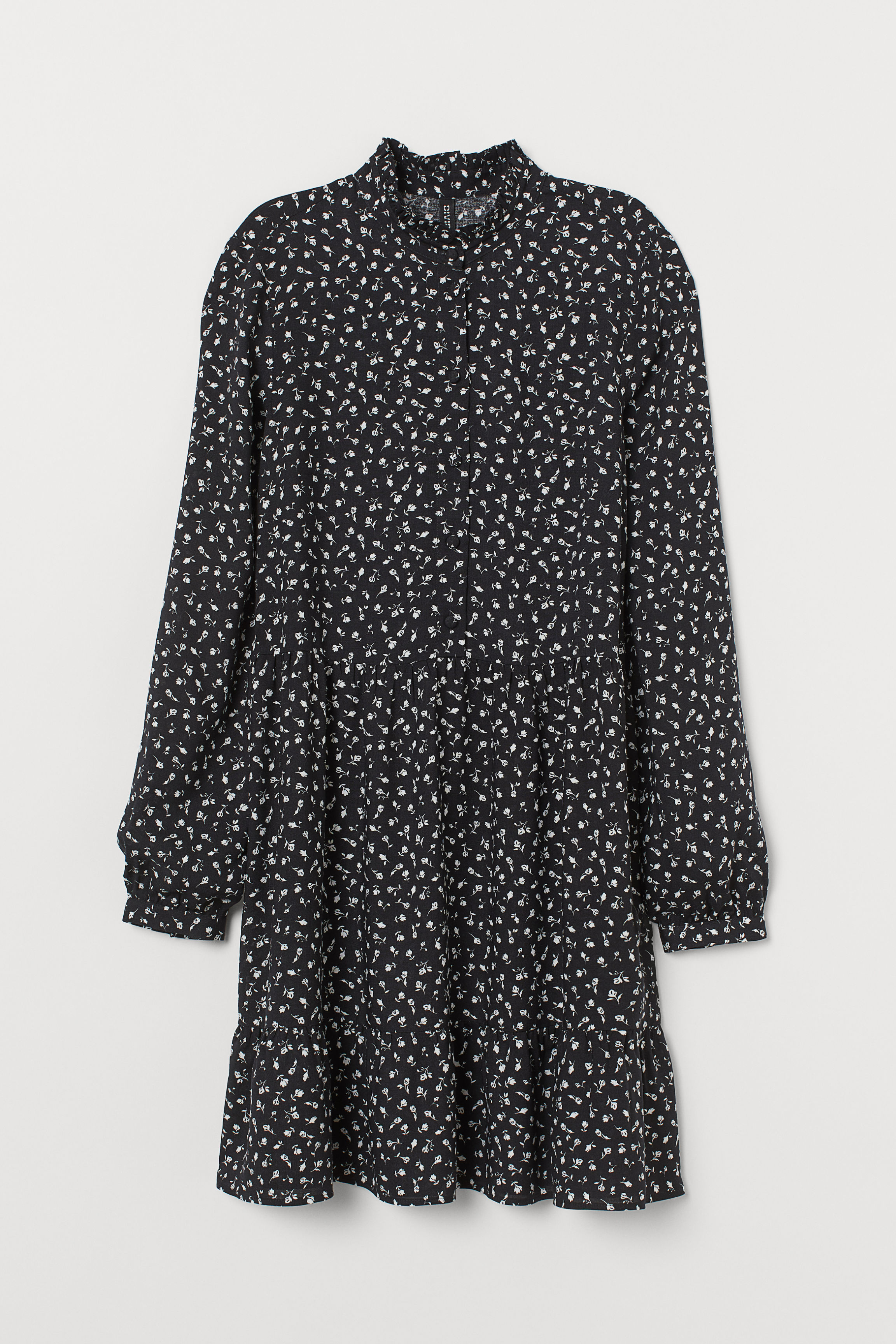 Dress with a stand-up collar - Black/Floral - Ladies | H&M GB