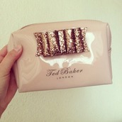 glitter,bow,nude,london,perfect,ted baker,makeup bag,bag