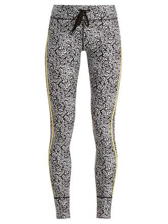 leggings print white black pants