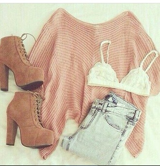shoes wow factor style outfit sweater booties necklace gorgeous perfecto jeans oversized sweater underwear blouse phone cover