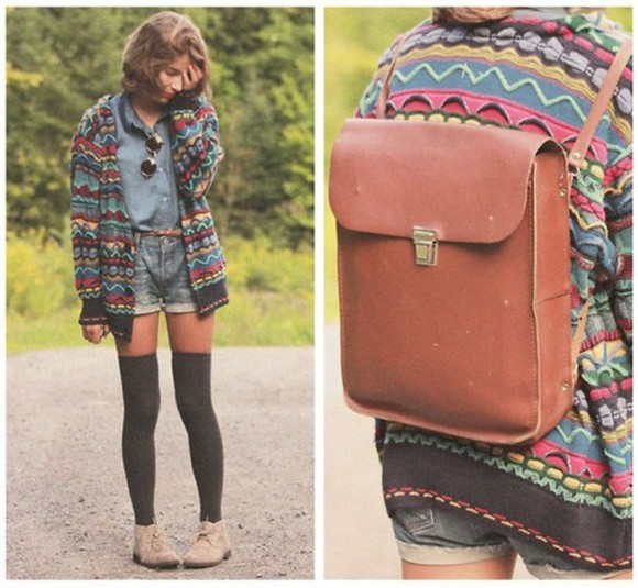 sweater bag aztec aztec sweater cardigan pattern zig zag print zig zag sweater leather bag blouse socks leather backpack knee high socks