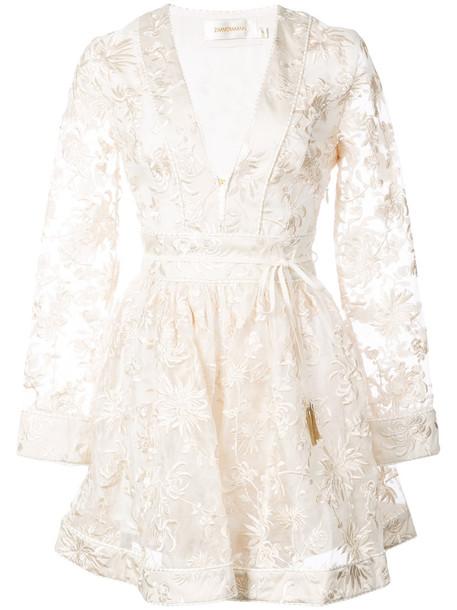 Zimmermann dress embroidered dress embroidered women nude silk
