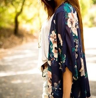jacket kimono cardigan sheer floral