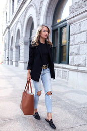 jacket,tumblr,blazer,black blazer,fall outfits,denim,jeans,blue jeans,ripped jeans,skinny jeans,bag,brown bag,top,black top,shoes,mules,t-shirt