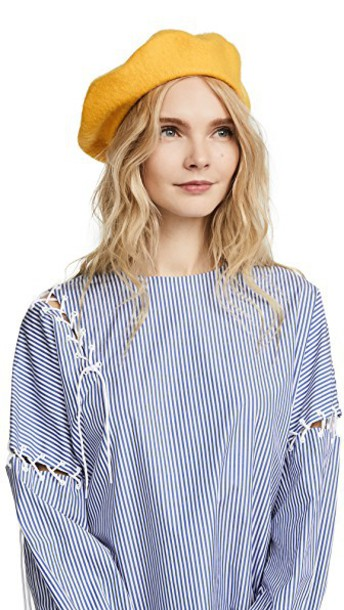 Hat Attack beret wool yellow hat