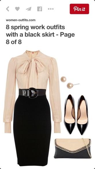 blouse beige dress style fashion shirt skirt belt