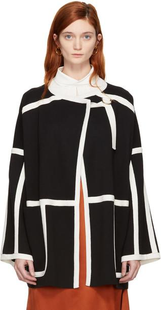 Chloe coat white black wool black and white