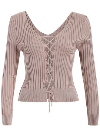 top nude fashion style trendy beige criss cross long sleeves beige sweater zaful