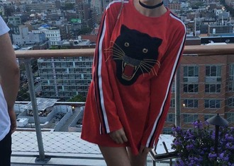 sweater red panther dress sweater dress