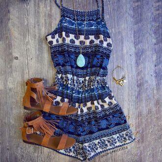 romper pattern colorful patterns blue aztec